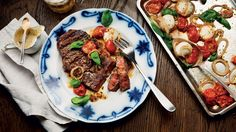 A flavoursome home cooked sirloin steak recipe with a fresh tomato salad topped with mozarella.