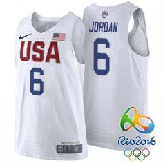 DeAndre Jordan  6 Authentic White Rio 2016 Olympics USA Dream Team Men s  Nike Basketball Jersey 7f4798623