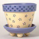 172 Daisy's Checks Flower Pot Stencil