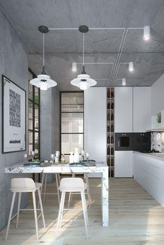 Küche in Weiß eingerichtet mit Wänden und Decke in Beton-Look