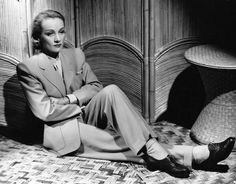 Marlene Dietrich// with pumps instead of dress shoes