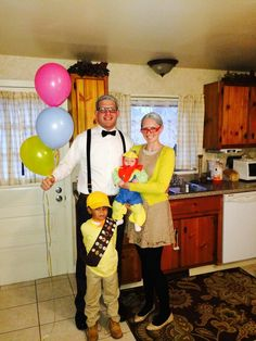 Homemade UP halloween costume 2013 Carl Ellie Russell and Kevin