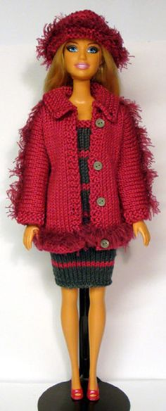 Knitted jacket for Barbie and matching hat and dress