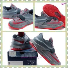 Nike KD 7 (VII) KD00150170 Gray Rosso Uomo scarpe sportive