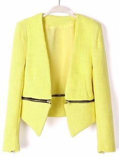 Yellow V Neck Long Sleeve Zipper Embellished Coat pictures