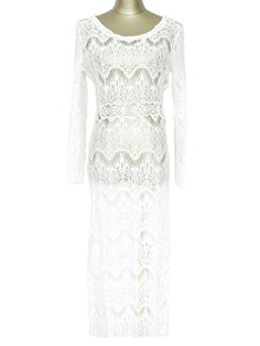 White Lace Long Sleeve Maxi Cover-Up - WHITE ONE SIZE(FIT SIZE XS TO M)
