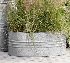 Looking for the perfect, unique containers for your plants? Galvanized planters are it! Sharing inspiring pics and planting tips to help you go galvanized! Galvanized Planters, Metal Planter Boxes, Outdoor Planters, Galvanized Metal, Bucket Gardening, Metal Tub, Driven By Decor, Cut Flower Garden, Diy Garden Projects