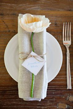 simple place settings for a backyard or country style wedding