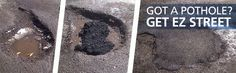 Asphalt repair for pros and contractors to permanently patch potholes. DIY homeowners can use EZ Street cold mix for driveway repair and pothole repair. Asphalt Repair, Driveway Repair, Home Repairs, Pavement, Make It Simple, Home Improvement, Yard, Street, Diy