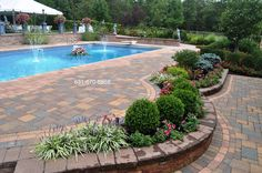 backyard designs with islands | Back yard Pool Design – Paving Stone Patio – Long Island NY (1)