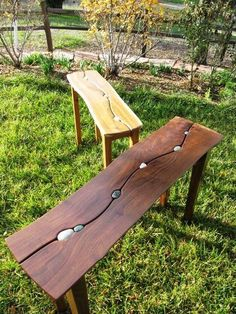 """""""Riverstone Tables"""" By Andy Needles  Local beach stones and local claro black walnut and black acacia slabs:"""
