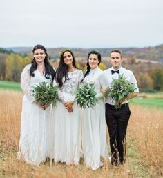 white bridal party