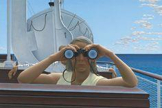 Alex Colville, To Prince Edward Island, 1965 Acrylic emulsion on Masonite, x cm National Gallery of Canada, Ottawa. Alex Colville, Canadian Painters, Canadian Artists, Prince Edward Island, Wes Anderson, Andrew Hunter, Bikini Rouge, Order Of Canada, Toronto