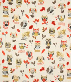Ollie Owl Fabric in Red - Just Fabrics http://www.justfabrics.co.uk/curtain-fabric-upholstery/red-ollie-owl-fabric/