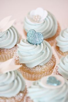 Blue wedding cupcakes. #Pastel Blue Wedding ... For free wedding ideas, tips and tricks ... ♥  http://www.facebook.com/pages/Planning-a-Wedding-Wedding-Apps/323767291749 ♥ https://twitter.com/bridesiPhoneApp