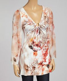 Love this Beige & Pink Rose Sublimation Ring V-Neck Tunic by Boho Chic-LA on #zulily! #zulilyfinds