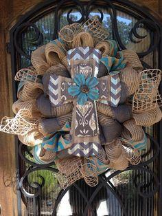 Tin & Burlap Rustic Cross Wreath by TexasTulleShop on Etsy