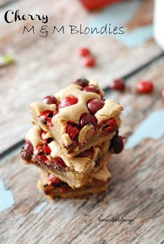 Cherry M & M Blondies - Lemons for Lulu