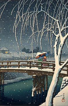 "Japanese Art Print ""Evening Snow at Edogawa"" by Kawase Hasui. Shin Hanga and Art Reproductions http://www.amazon.com/dp/B019DWPWBW/ref=cm_sw_r_pi_dp_ss4dxb1CPRGT0"
