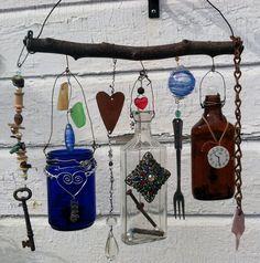 Bottle Chime/Vintage Vicks Jar and Bottles by creationdesigns, $45.95