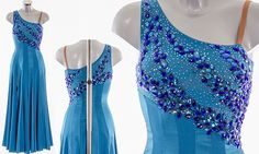 Capri Blue Ballroom Dress as worn by Karen Hauer on Strictly Come Dancing 2014. Designed by Vicky Gill and produced by DSI London