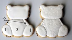 Polar Teddy Bear Cookies: You've Got All Day for a Dozen Cookies, So Why Not? Teddy Bear Cookies, Baby Cookies, Baby Shower Cookies, Iced Cookies, Cute Cookies, Cupcake Cookies, Cupcakes, Sugar Cookie Icing, Royal Icing Cookies