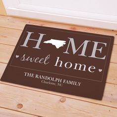 Personalized State Doormat Home Sweet Home Mat Any States New Home Gift Indiana Iowa Kansas Louisiana Montana North Carolina Mississippi by PreppyPinkies on Etsy