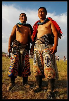 Mongolian wrestlers from Inner Mongolia, China. Inner Mongolia is an autonomous region of northern China. (V)