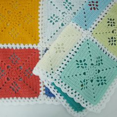 Victorian lace square crochet blanket, sorbet colours | Happy in Red
