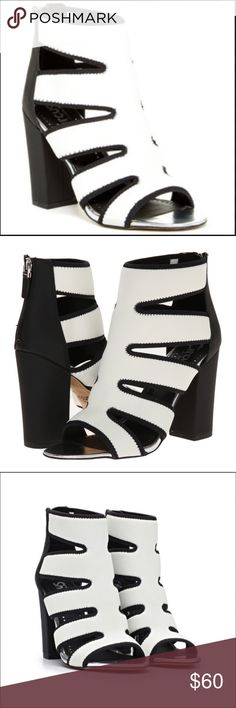 "NEW ARRIVAL! Circus by SAM EDELMAN Nina Heels NIB These beautiful and funky Circus by SAM EDELMAN heels are NIB-unused, unworn, with the original box.  Black and white, size 8.  Heel approximately 4"", shaft measures approximately 5.5"" from arch, boot opening measures approximately 9.35"" around.  Scuba inspired cut-out upper with zipper closure at the heel. Fits true to size.  Retail: $95. Get these amazing heels from my closet at a deep discount! Shoes Heels"