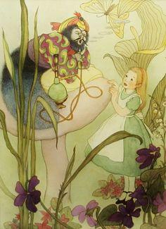 Vintage Caterpillar Hookah, Psychedelic Print, Hippie Decor, Smoking Art, Enchanted Forest, Alice in Wonderland, 9x12 Children Print w/Mat. $12,00, via Etsy.
