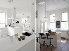 Love white kitchen modern minimalism mixed with rustic floor and lighting