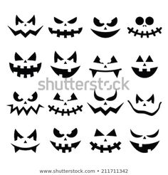 Find Scary Halloween Pumpkin Faces Icons Set stock images in HD and millions of other royalty-free stock photos, illustrations and vectors in the Shutterstock collection. Thousands of new, high-quality pictures added every day. Citouille Halloween, Visage Halloween, Halloween Mignon, Moldes Halloween, Scary Halloween Pumpkins, Adornos Halloween, Manualidades Halloween, Halloween Stickers, Halloween Birthday