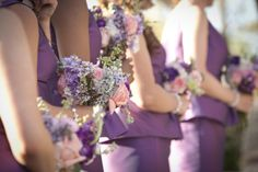 2014 Bridesmaid Dress Trends: Radiant Orchid Dresses on Borrowed & Blue.  Photo Credit: Claudia McDade Photography via Style Me Pretty