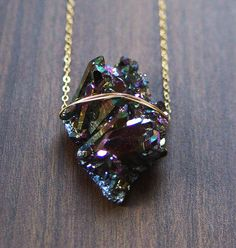 Titanium Druzy Necklace One of a Kind by friedasophie on Etsy