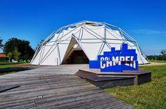 francis kéré sets camper pop-up store inside buckminster fuller's vitra dome
