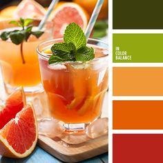 алый, насыщенный оранжевый, оранжево-красный, оттенки оранжевого, салатовый, тёмно-красный, цвет грейпфрута, цвет мякоти грейпфрута, цвет мяты, цвет сицилийского апельсина, яркие оттенки, яркий зеленый, яркий оранжевый