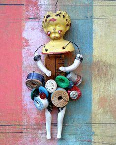 Crafty Lady art doll 8x10 PRINT   by by ElizabethRosenArt on Etsy, $15.00