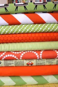 Orange and Green custom Fat Quarter bundle FQ of each, 9 total