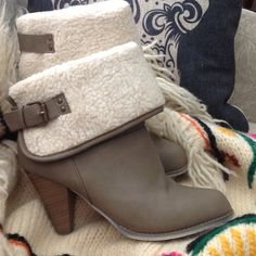 SHEARLING STYLE BOOTS Shearling look cuff folds over tan vegan leather bootie.  Has working buckle and stud enhancements.  Stacked wood look heel is 3 1/4 inches. I only wore once. I love these but I have too many booties!!! Rue 21 Shoes Ankle Boots & Booties