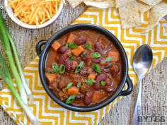 Chorizo Sweet Potato Chili |Budget Bytes $8.63 recipe / $1.44 serving || Love this recipe! The sweet potato and chorizo work so well together.