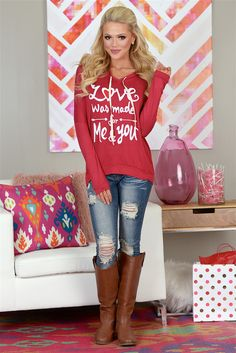 'Love Was Made For You And Me' Hoodie from Closet Candy Boutique #fashion #ootd #vday