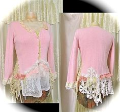 Shabby Chic Sweater, shabby pink sweater, romantic lacy doily sweater embellished, womens altered clothing, shabby cottage chic