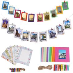 DIY Wall Photo Display Hanging Kraft Paper Picture Frames Clips Kit 3//5//6inch 3