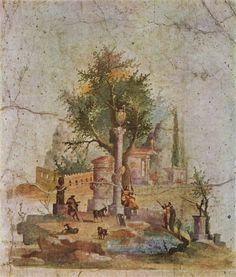 Römische Landschaftsmalerei. Atmosphärische Luftperspektive, kleine Tempelchen, Schäfer, mit ihren Tieren