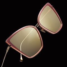 Sunbird in rose gold.  The frame's lightweight acetate lens rims are surrounded by titanium. #DITAeyewear