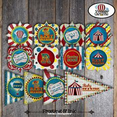 Carnival Shower - Circus Baby Shower - Complete Collection - Toppers, Banner, Favor Tags & More - Customized Printable (Vintage Inspired). $38.00, via Etsy.