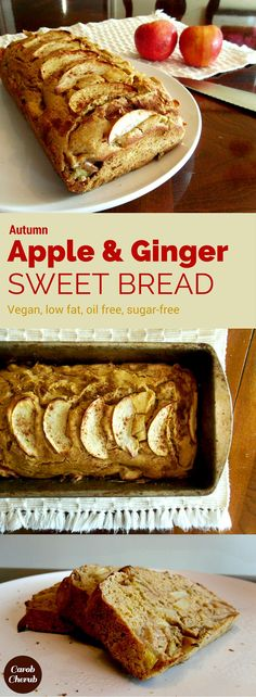 Healthy Vegan Autumn Apple & Ginger Sweet Bread    www.carobcherub.com   This sweetbread is a healthy, easy and fast breakfast, snack or dessert. This is a clean food recipe you can enjoy eating without guilt. You have to plan to make this delicious recipe soon. Low fat, oil-free, refined-sugar free, vegan, wholegrain, salt-free! @carobcherub