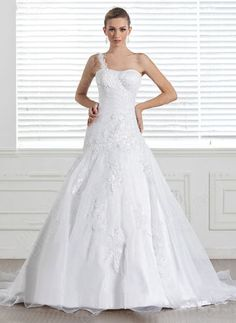 Princess One Shoulder Organza Satin Sweep Train White Appliques Wedding Dress at Pickeddresses.com