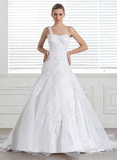 Princess One Shoulder Organza Satin Sweep Train White Appliques Wedding Dress at Pickeddresses.com
